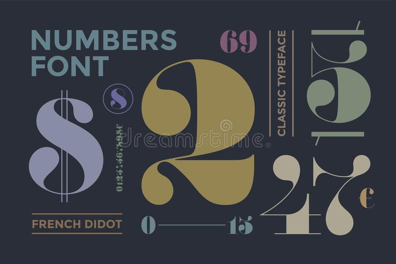 Font of numbers in classical french didot. Or didone style with contemporary geometric design. Beautiful elegant numeral, dollar and euro symbols. Vintage and stock illustration