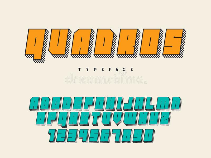 Vector square block font. Latin alphabet letters and numbers. 3d font stock illustration
