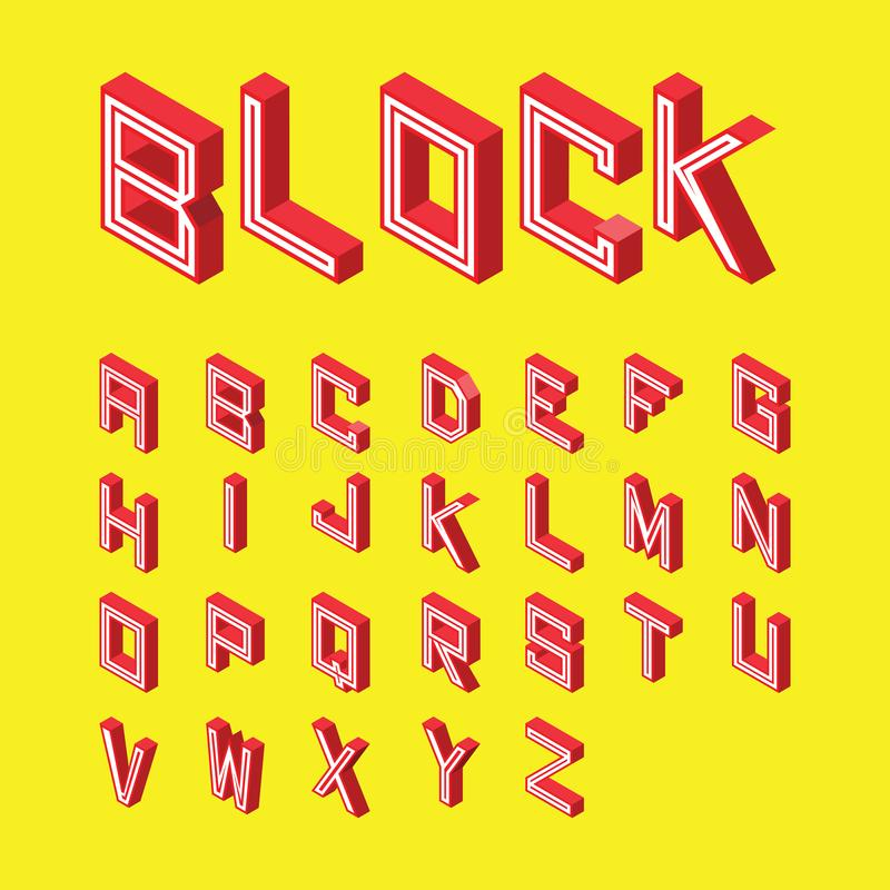 Font red block style on yellow background. 3d isometric alphabet. font red block style on yellow background. Letters. vector typography for headlines, posters stock illustration