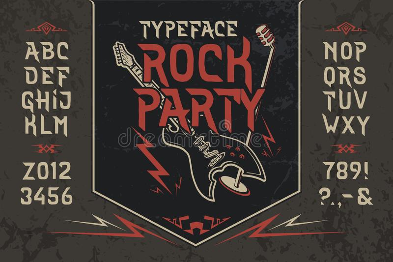 Font Rock Party. Hand crafted retro vintage typeface design. Handmade lettering. Authentic handwritten graphic alphabet. Vector illustration old badge label royalty free illustration