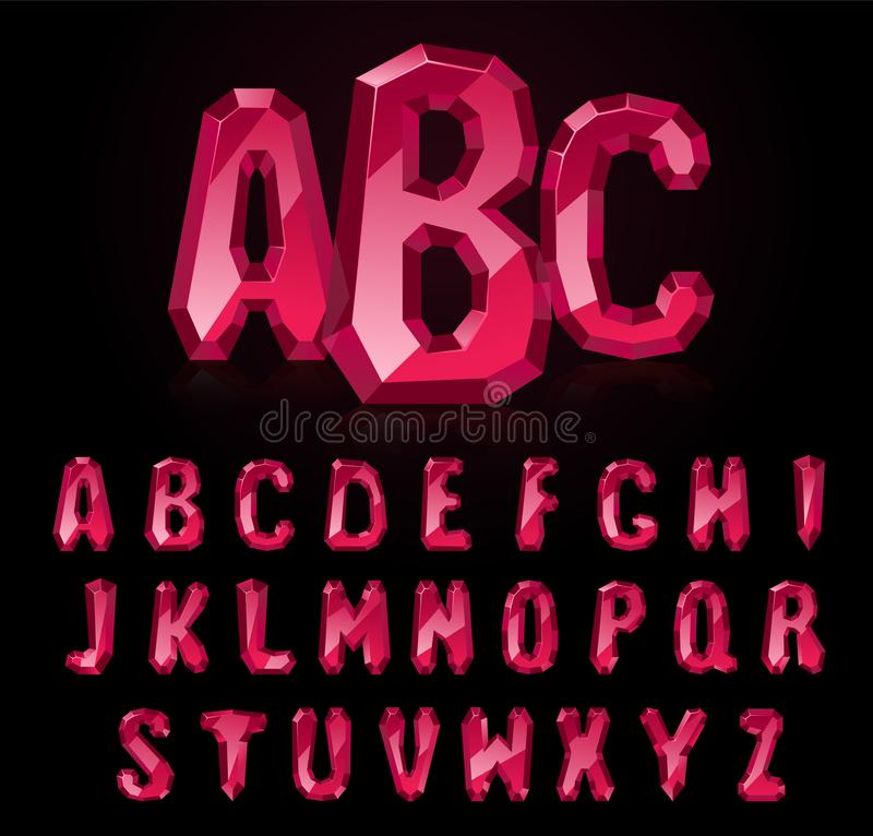 Font of ruby stones. Ruby font. Treasures of alphabet. Gemstone letters stock illustration
