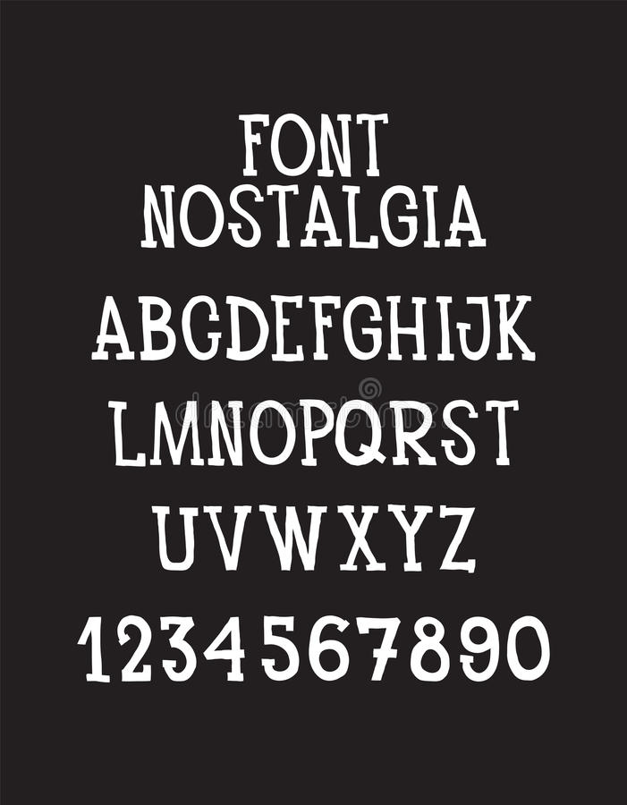 Font. RVintage simple universal hand written typeface. Type letters, numbers and symbols on a dark background. Alphabet vector font for labels, headlines stock illustration
