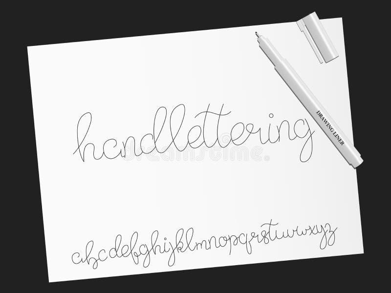 font script Χειρόγραφος χαρακτήρας αλφάβητου καλλιγραφίας διανυσματική απεικόνιση
