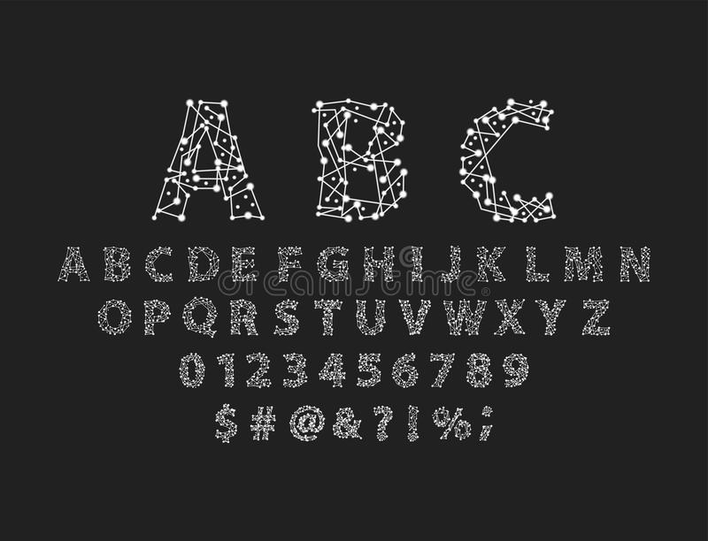 Font space alphabet typeface script with minimal design typographic modern graphic vector illustration. Font space alphabet typeface script with minimal design stock illustration