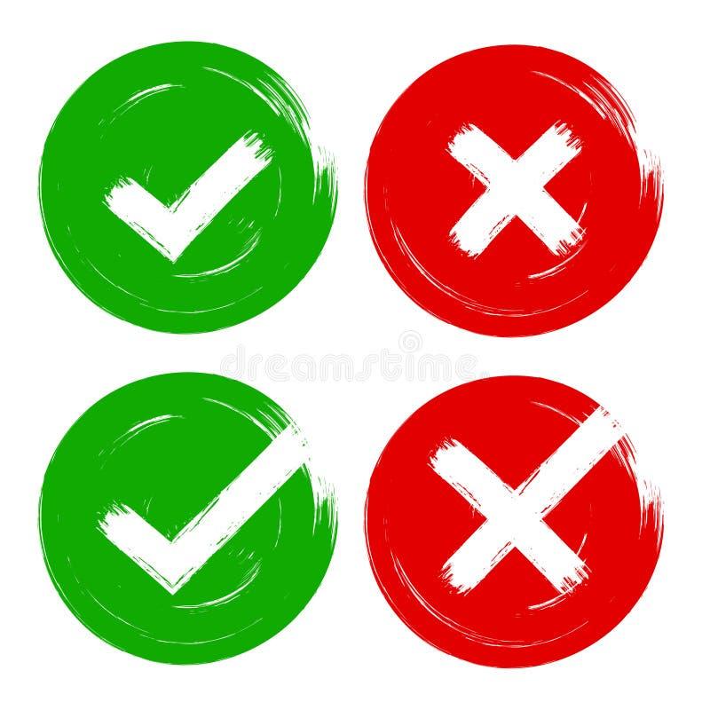 Font tic tac et l'ensemble vert rouge de signe d'opinion de vote de course de brosse de croix d'OK, non, oui coches illustration libre de droits