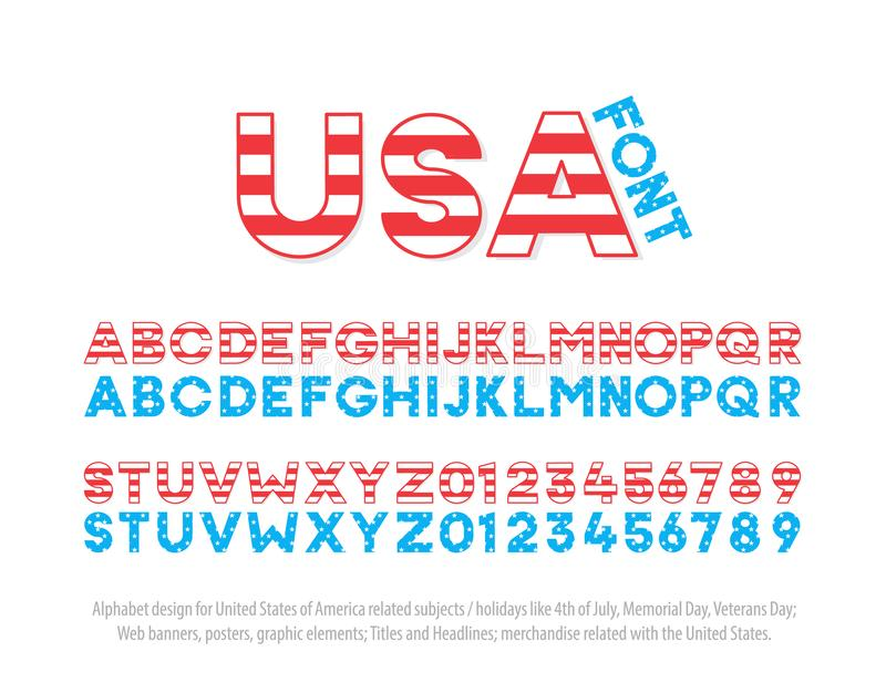 Font typography effect based on USA National Flag. United States of America thematic alphabet and numbers effect. Vector design stock illustration