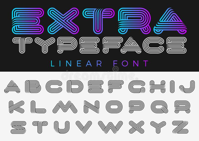 Font vector alphabet technology future sport design linear style.ABC Letter Logo Monogram templates. Creative outline typeface vector illustration