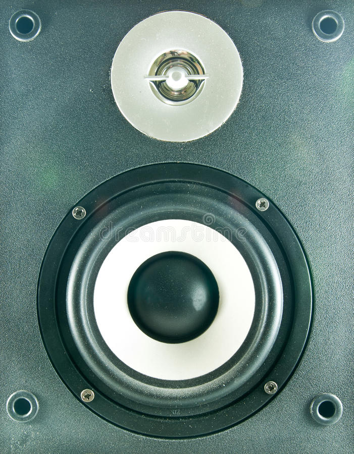 Font view of loudspeaker. Close up a font view of loudspeaker stock photo