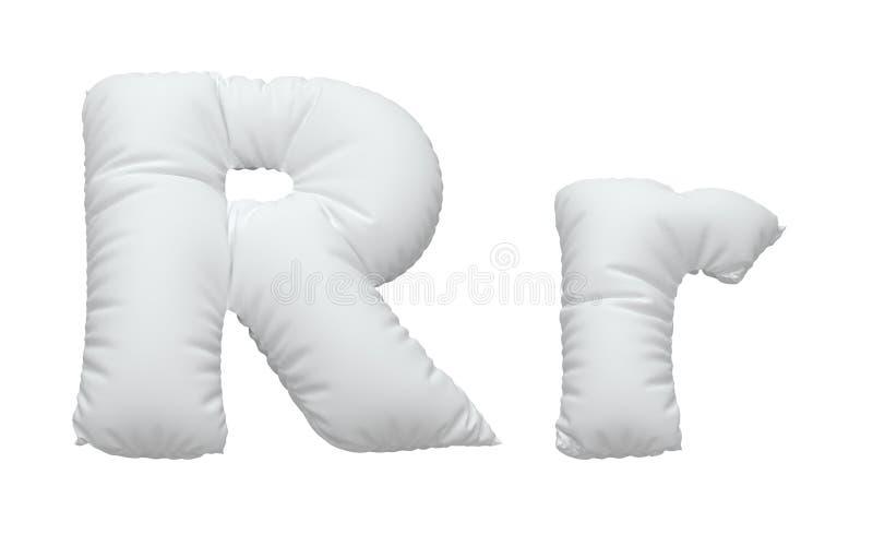 Font. White pillow font. isolated background. 3D illustration vector illustration