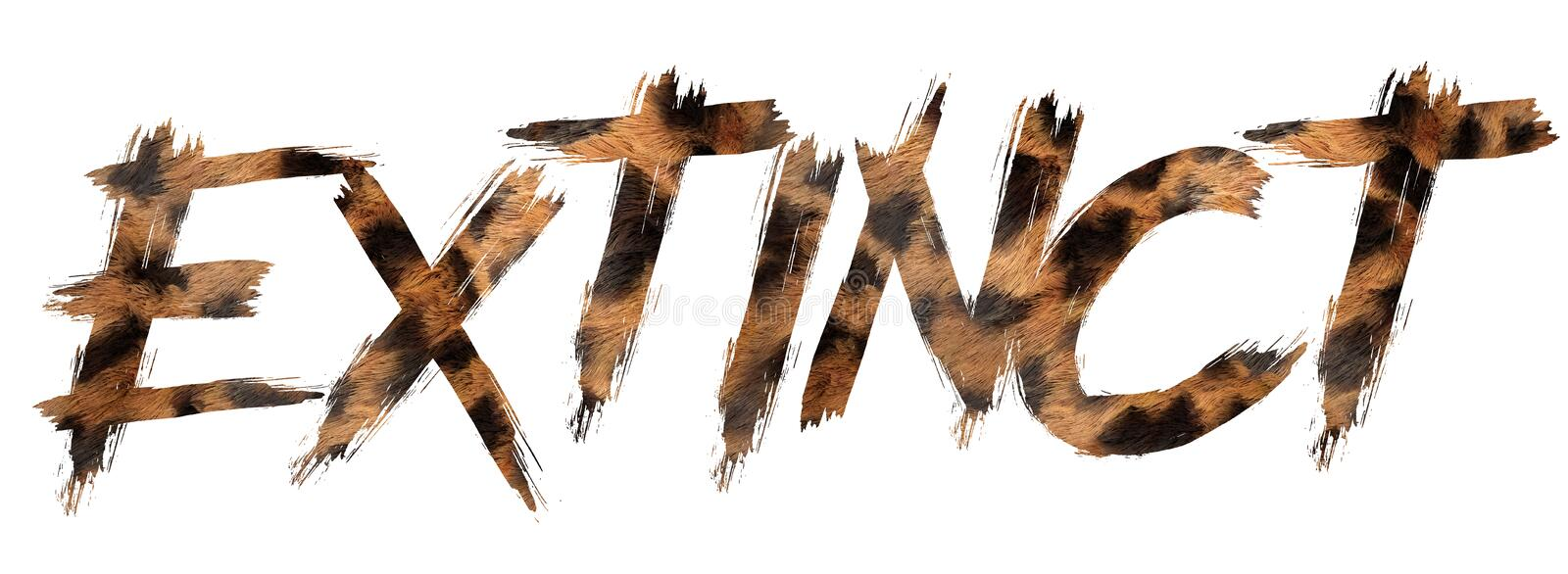 Font written extinction with oz skin. In white background royalty free illustration