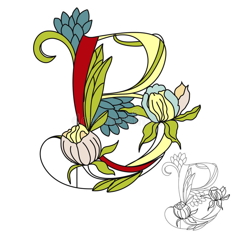 Font2 floral. Letra B ilustração stock