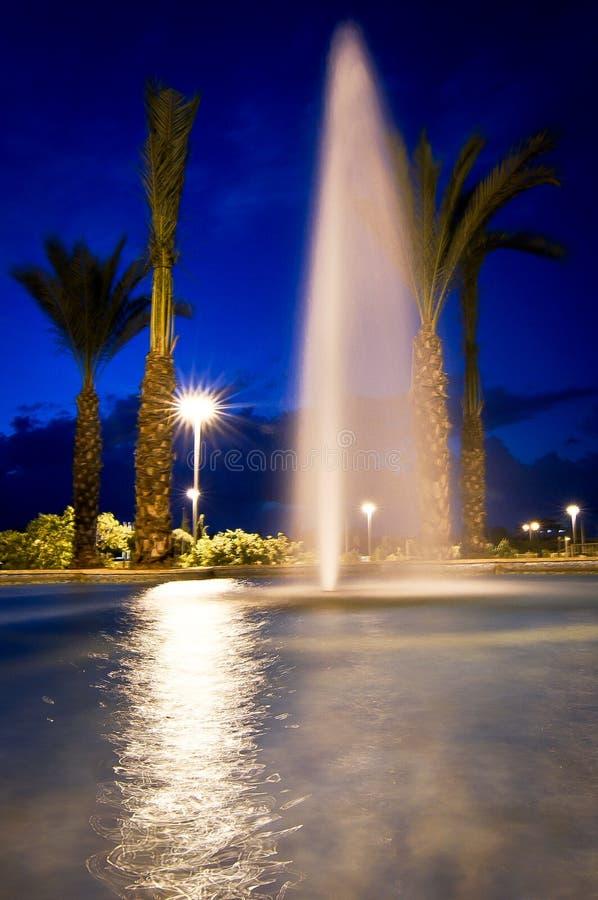 Fontain de nuit photographie stock libre de droits