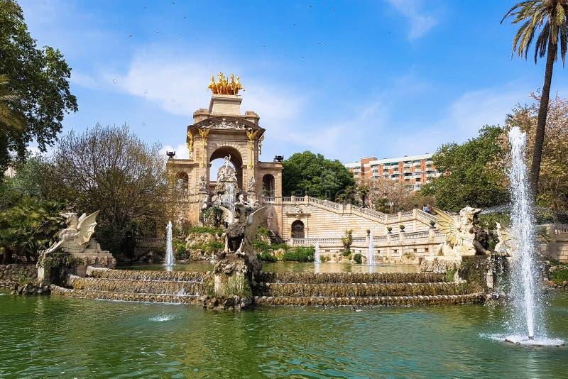Fontain Stilsort de la Cascada Parc de la Ciutadella Barcelona arkivfoton