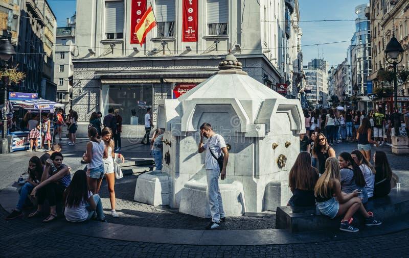 Fontaine à Belgrade photo libre de droits
