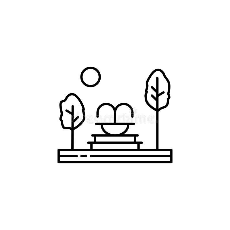 Fontaine, arbres, icône d'ensemble de jardin Élément d'illustration de paysages Les signes et les symboles décrivent l'icône peuv illustration stock