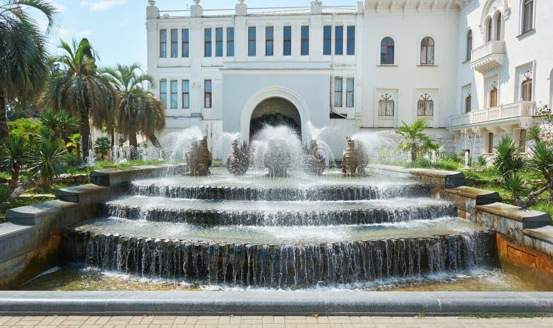 Fontaine au bâtiment administratif dans la ville de Soukhoumi photographie stock libre de droits