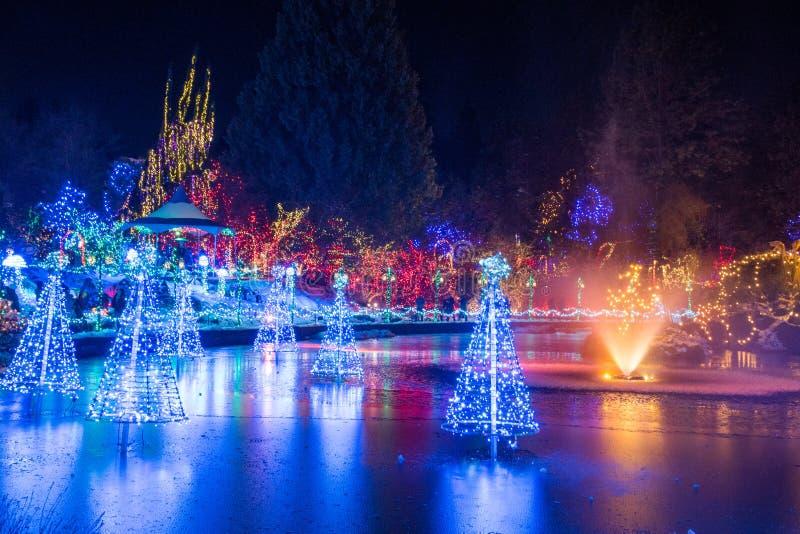 Fontaine au lac et aux décorations colorées de lumière de Noël photos stock