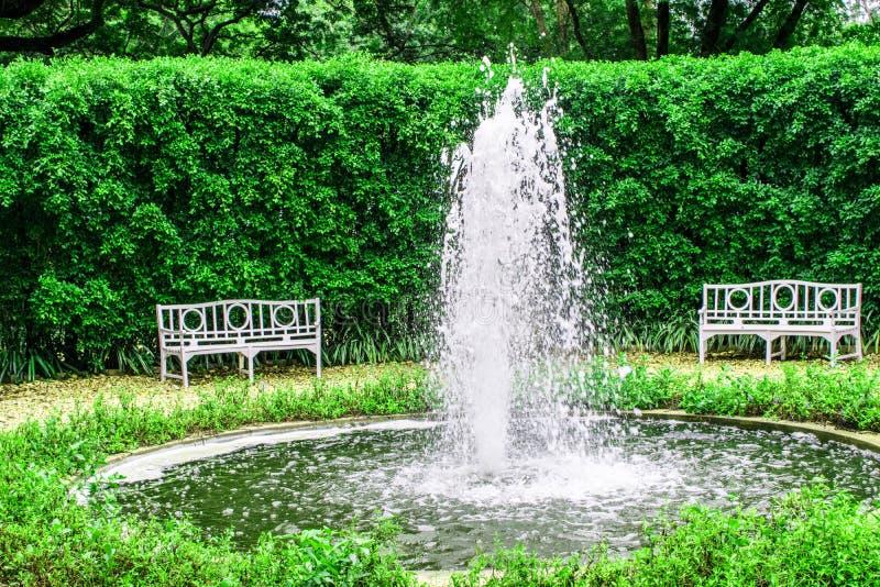 Fontaine au milieu du parc et chaises blanches pour se reposer photo libre de droits
