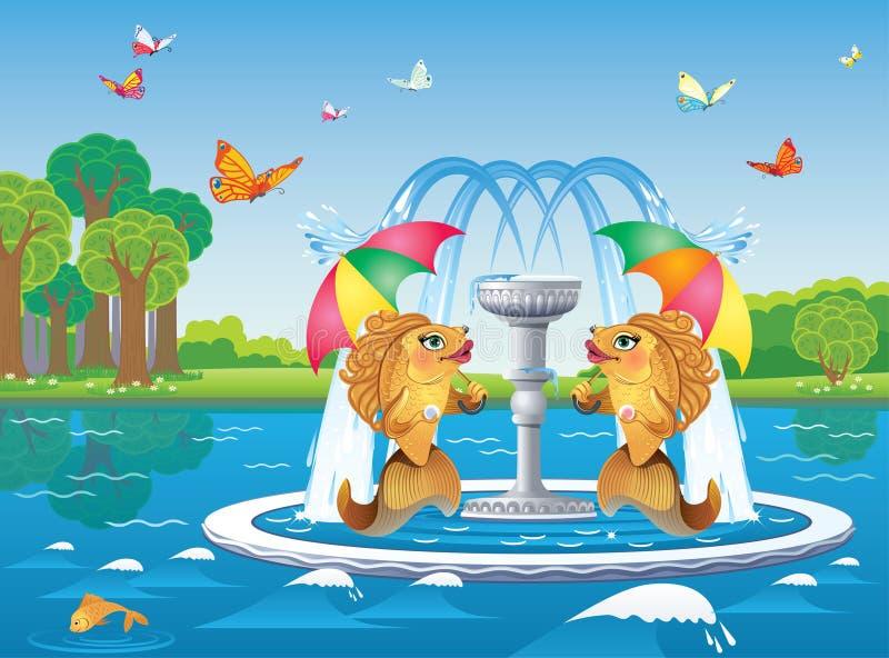 Fontaine avec des poissons sous des parapluies sur le fond de la rivière illustration stock