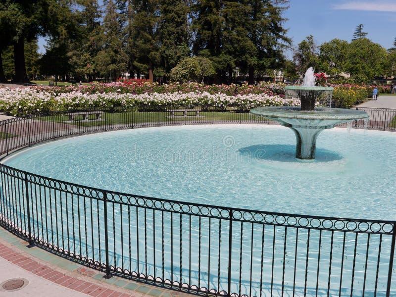 Fontaine avec le bassin rond en San Jose Rose Garden photographie stock