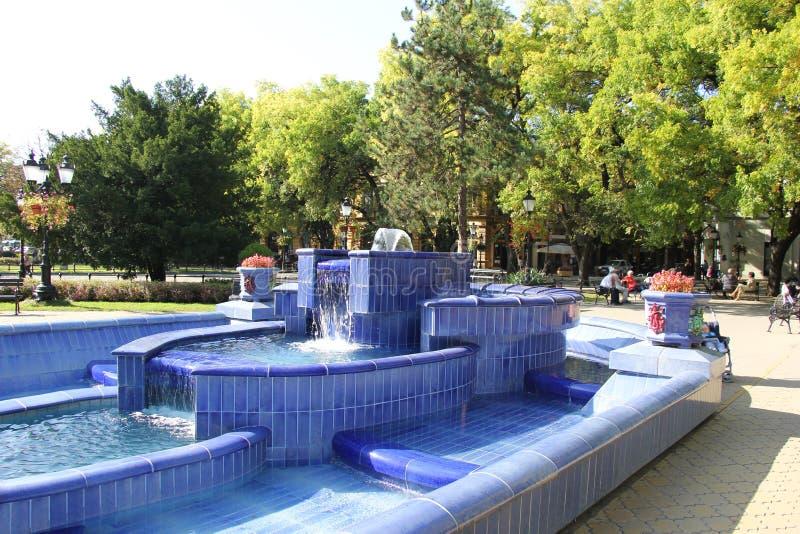 Fontaine bleue dans Subotica images stock