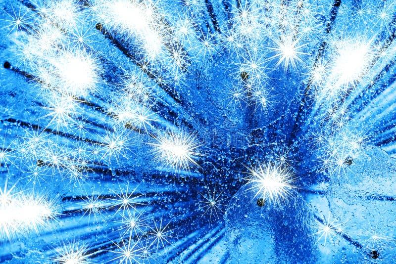 Fontaine bleue diagonale de ville d'eau douce avec des étincelles images libres de droits