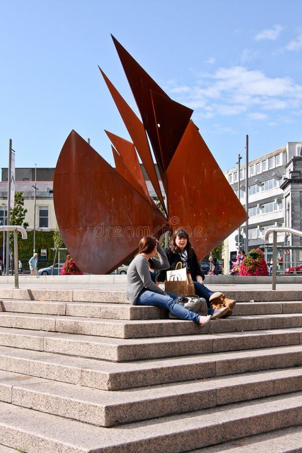 Fontaine cinq-centième à la place d'Eyre, Galway Irlande images libres de droits