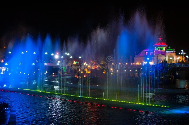 Fontaine colorée lumineuse de nuit dans la ville photo libre de droits