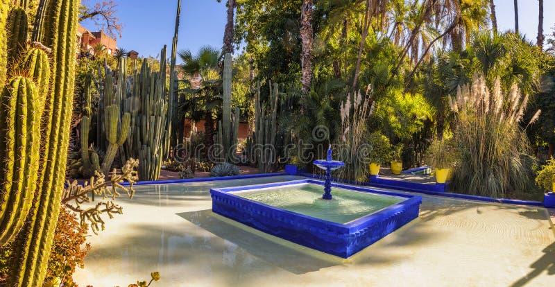 Fontaine d'eau bleue dans le jardin botanique de Jardin Majorelle à Marrakech images stock