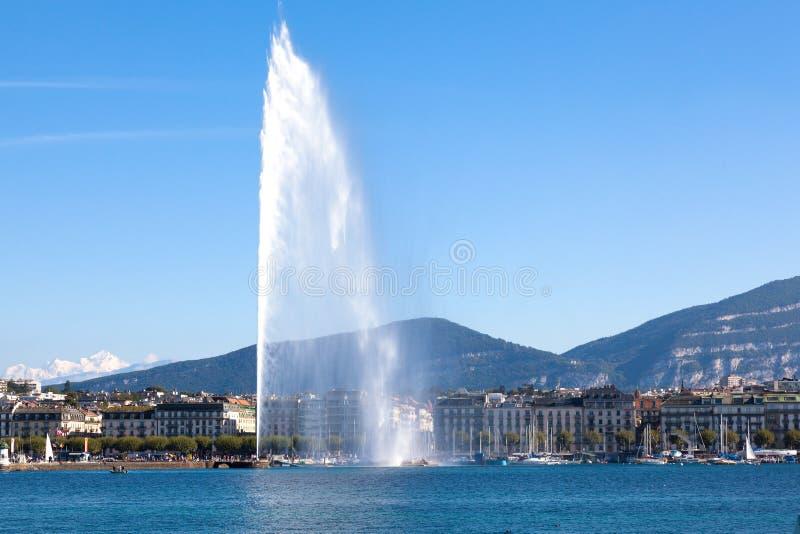 Fontaine d'eau de Genève photo libre de droits