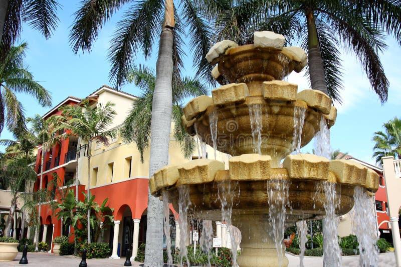 Fontaine d'eau devant le bâtiment et les palmiers colorés photo stock