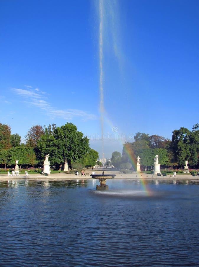 Fontaine dans le jardin du Tuileries - le Paris image libre de droits