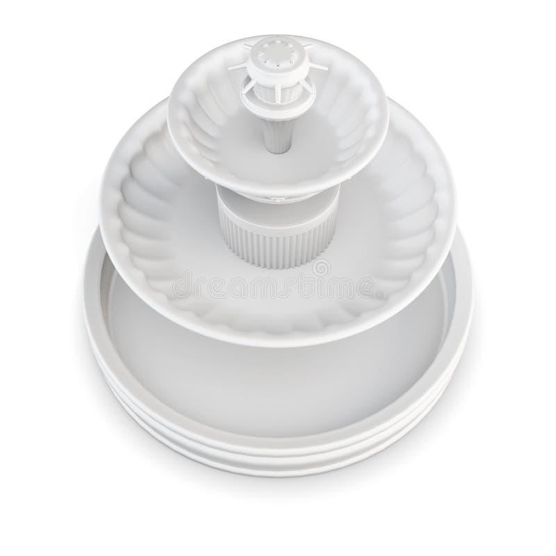 Fontaine de cour sur le fond blanc rendu 3d illustration stock