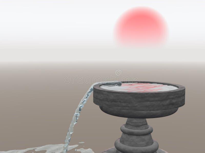 Fontaine de débordement avec Soleil Levant illustration stock