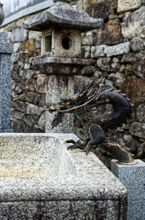 Fontaine de dragon, Jobonji, portrait d'Otsu, Japon photographie stock