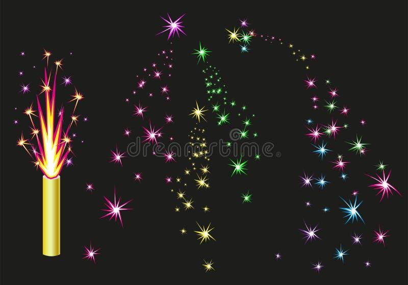 Fontaine de feux d'artifice Les feux d'artifice colorés étincelle sur le fond noir illustration libre de droits
