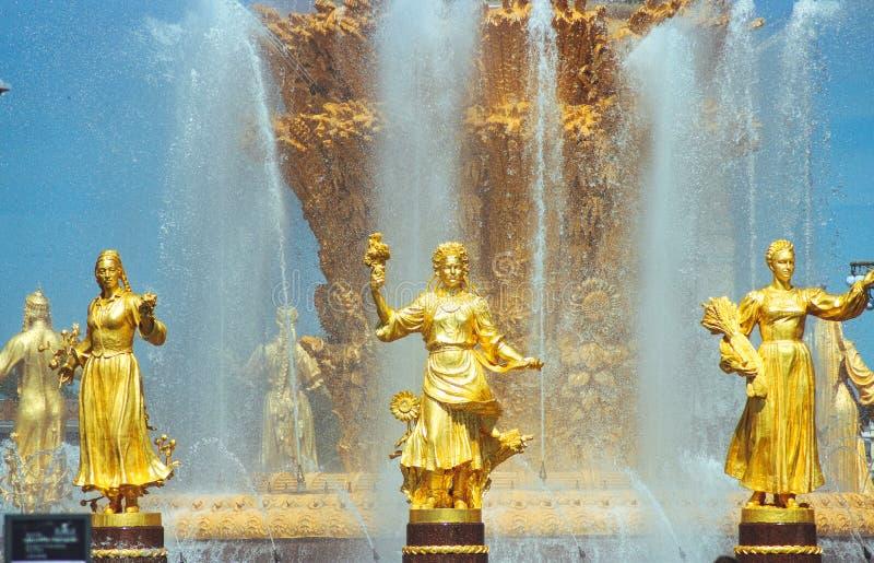 Fontaine de l'amitié des nations sur le vdnkh, Moscou, Russie photographie stock