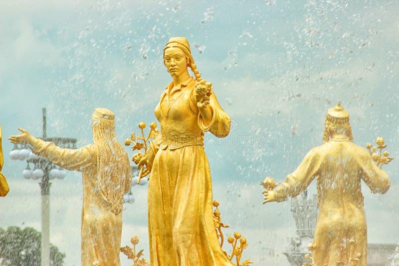 Fontaine de l'amitié des nations sur le vdnkh, Moscou, Russie image libre de droits
