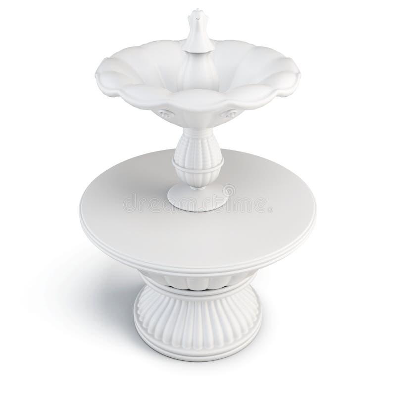 Fontaine de la pierre blanche sur le fond blanc illustr 3d illustration stock