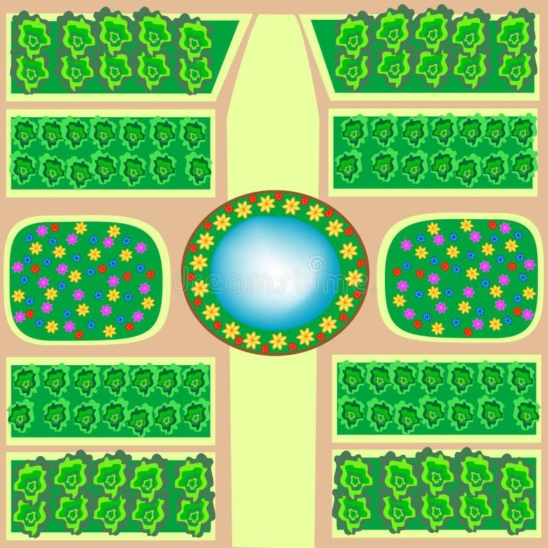 Fontaine de lits de fleur de parc illustration de vecteur