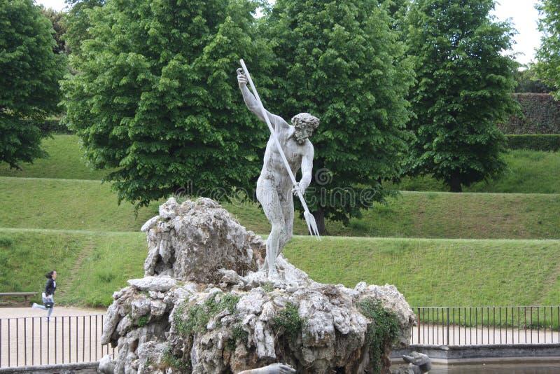 Fontaine de Neptune au centre des jardins de Boboli Le sculpteur, Stoldo Lorenzi Florence photos stock