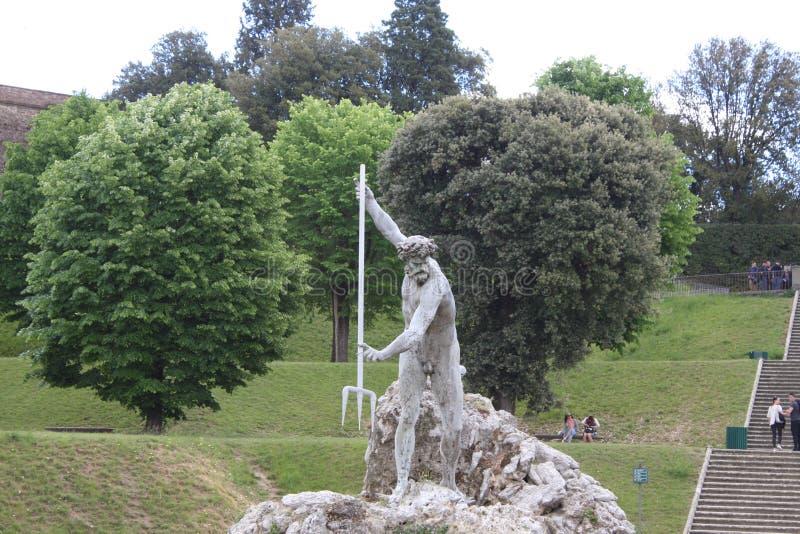 Fontaine de Neptune au centre des jardins de Boboli Le sculpteur, Stoldo Lorenzi Florence image stock