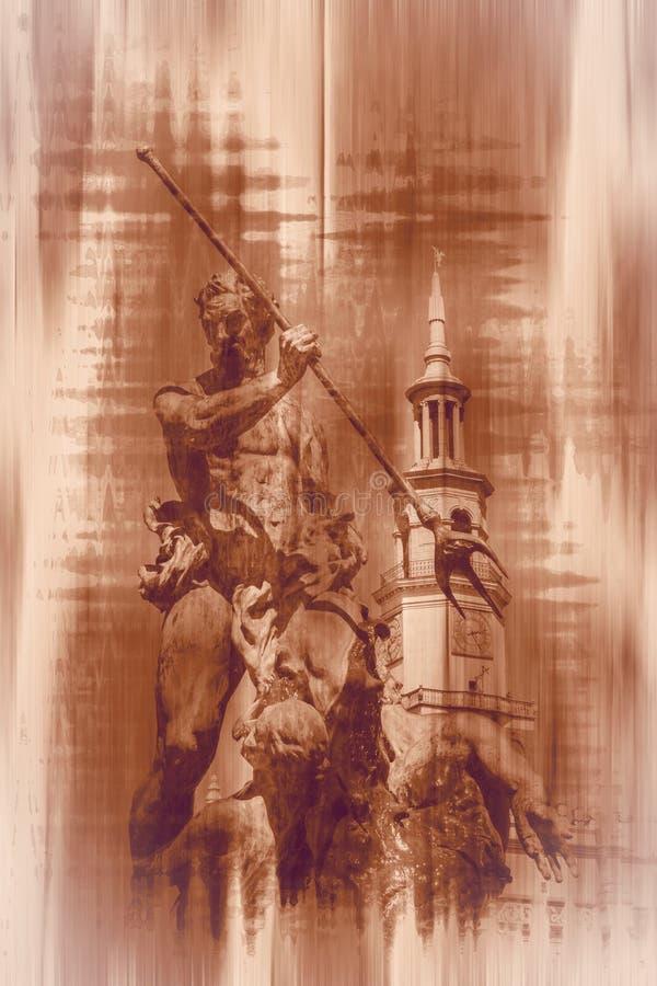 Fontaine de Neptune avec hôtel de ville de Poznan illustration libre de droits