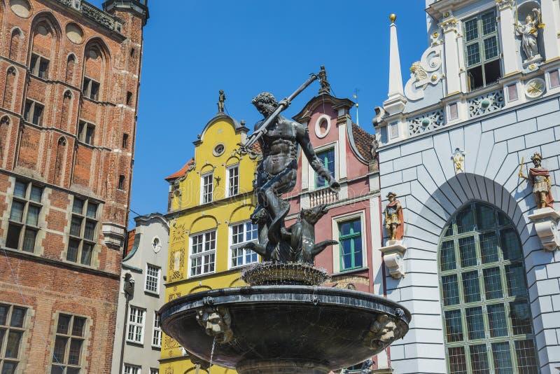 Fontaine de Neptune sur le marché à terme Danzig, Pologne photo libre de droits