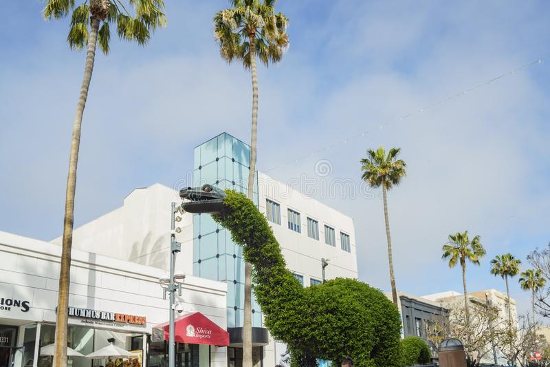 Fontaine de statue de style de dinosaure chez Santa Monica photo libre de droits