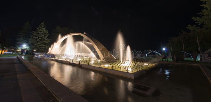 Fontaine de voûte de confédération la nuit, Kingston image stock