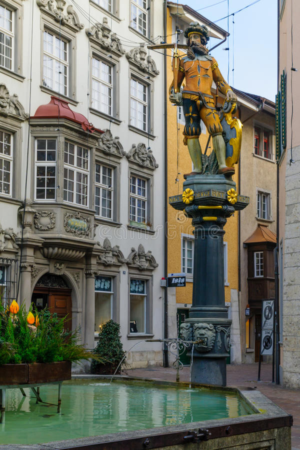 Fontaine de Wilhelm Tell dans Schaffhausen images stock