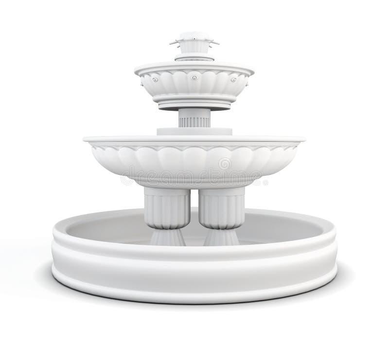 Fontaine de yard d'isolement sur le fond blanc rendu 3d illustration de vecteur