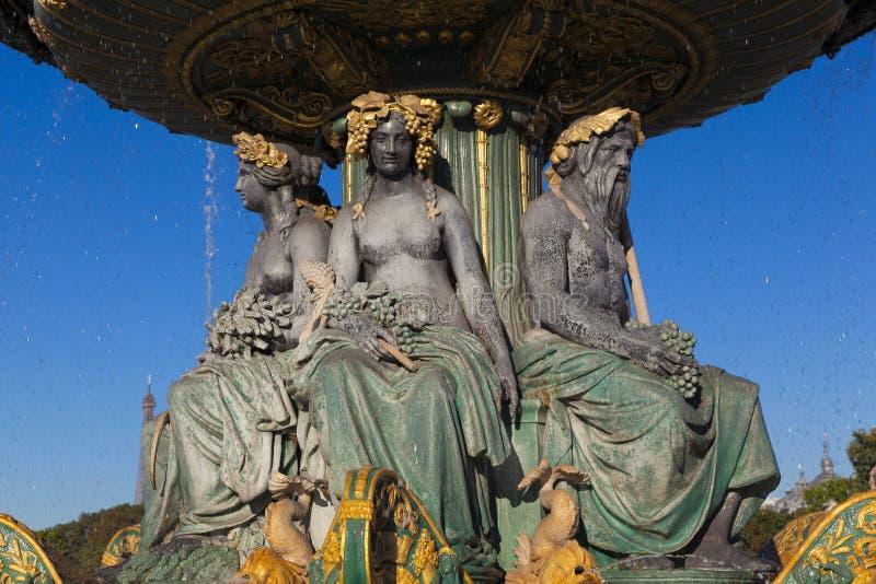 Fontaine des Fleuves, Concorde kwadrat, Paryż zdjęcia royalty free