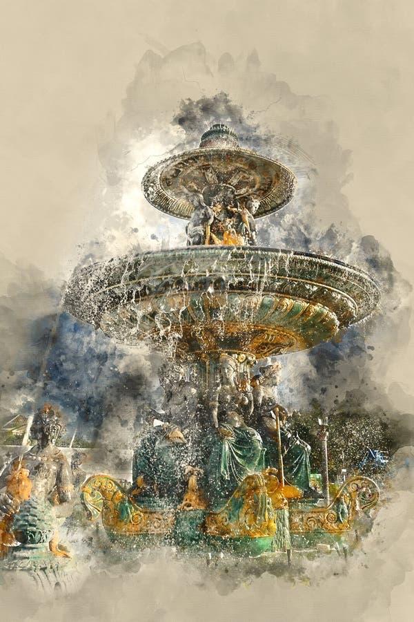 Fontaine des Fleuves - den härliga springbrunnen i staden av Paris royaltyfria foton